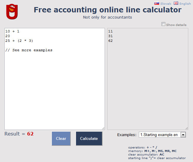 Free accounting online line calculator full screenshot